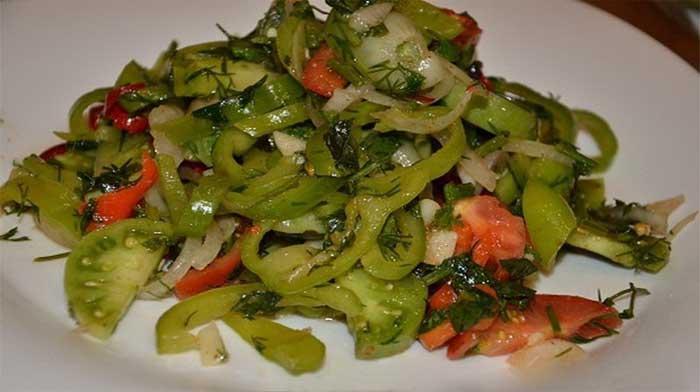 Салаты из зеленых помидор рецепты с