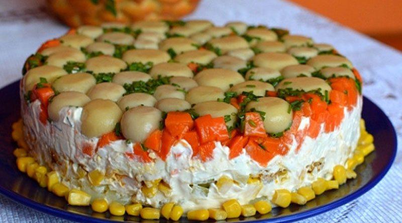 Салат торт с грибами