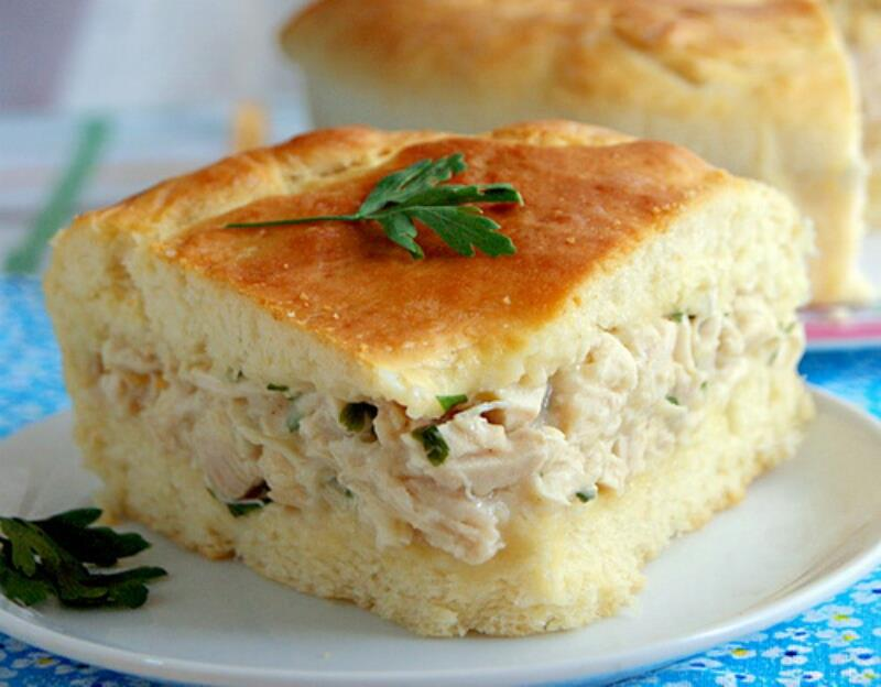 Пирог на кефире с курицей рецепт
