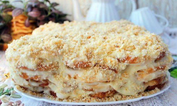 торт из печенья ушки с заварным кремом рецепт с фото