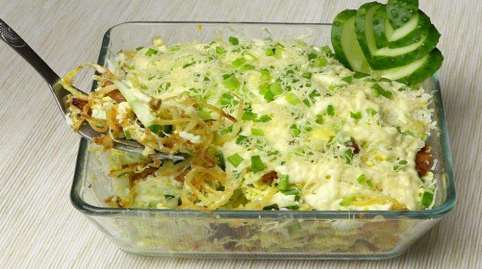 Невероятно красивый и вкусный куриный салат с картофелем